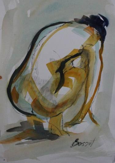Black Line Nude Watercolor