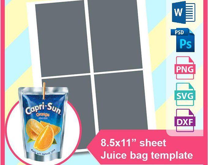 Capri Sun Juice Bag Pouch Labels Layer Template Instant Etsy Capri Sun Juice Candy Bar Wrapper Template Capri Sun