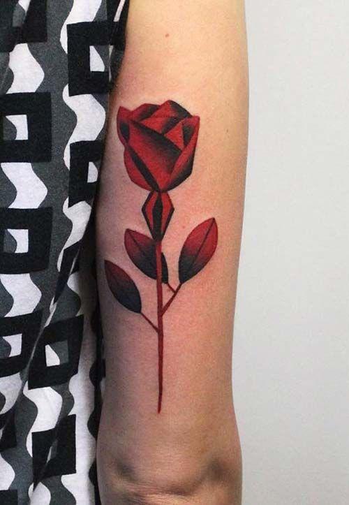 back arm rose tattoo arka kol gül dövmesi