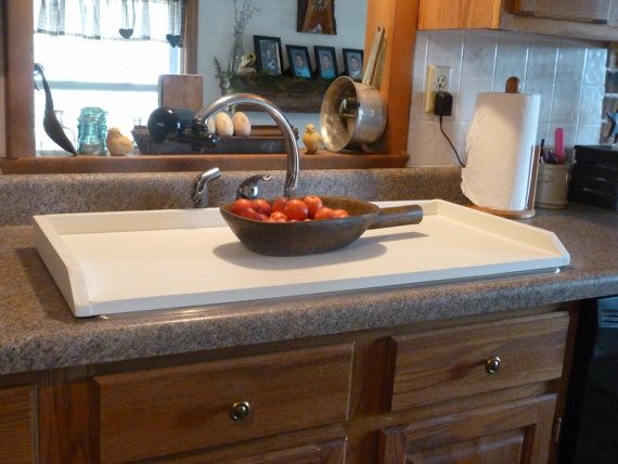 White Sink Cover Country Kitchen Tray Wooden Tray Stove