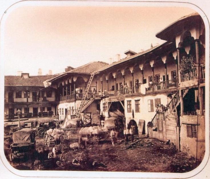 Bucuresti , Hanul lui Manuc - 1880 -  fotografie de Szathmary