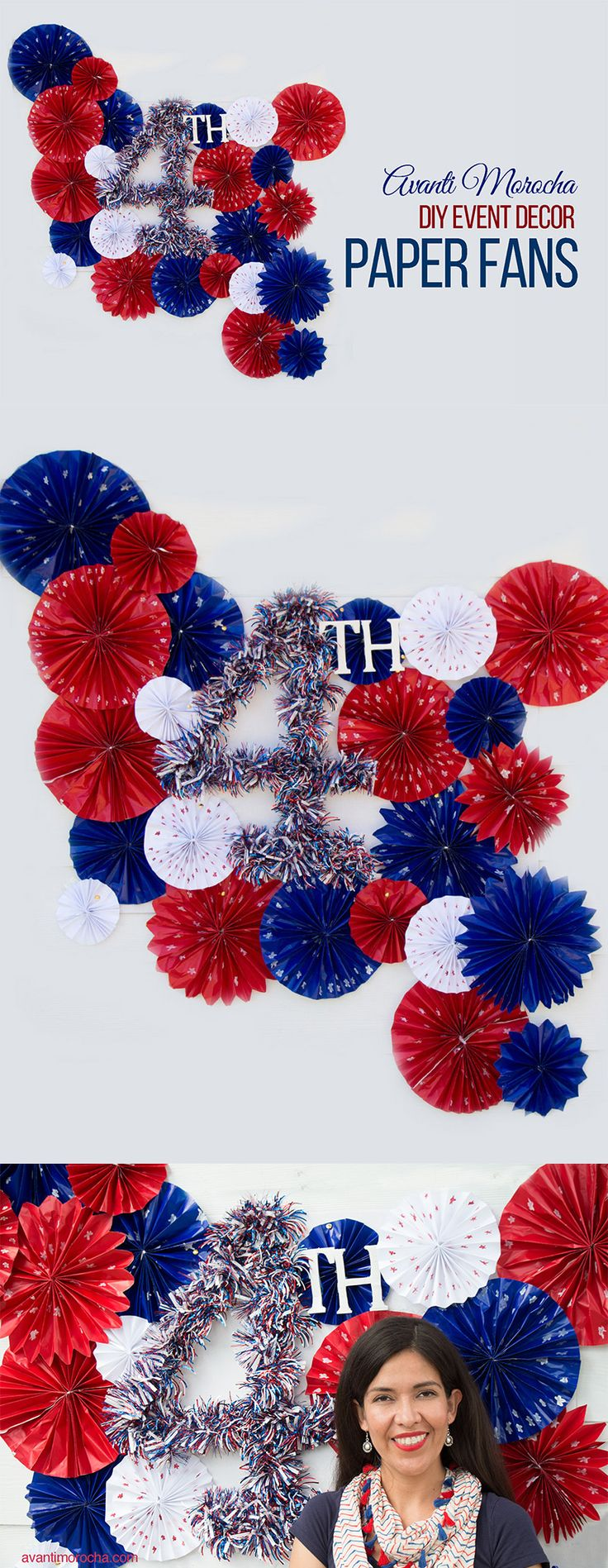 4th of July DIY / Event Decor -How to make Paper Fans -- Fiestas Patrias / Decoration de eventos / Como hacer abanicos de papel.