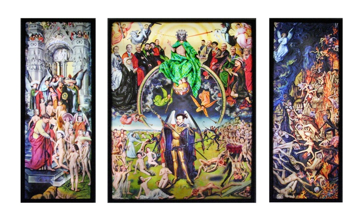"""La Reconquista"", triptych, 2010, lenticular photographic image on translucent medium, Ed. of 3, 61"" x 109"" x 4.5"" De la Torre Brothers"
