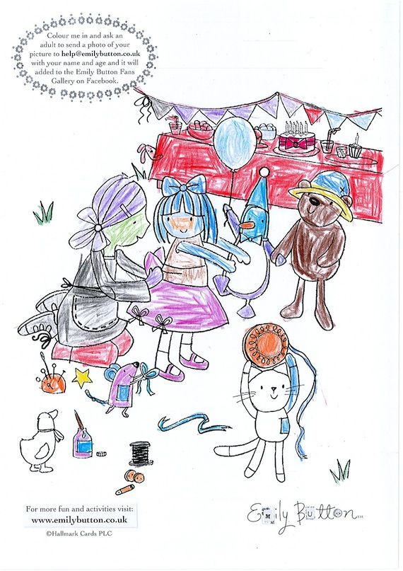 Emily Button Colouring Sheet Jude, aged 6