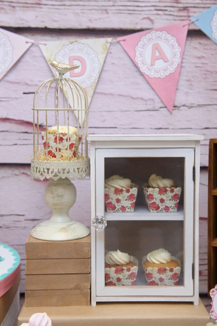 Shabby chic decor at an Owl Birthday Party!  See more party ideas at CatchMyParty.com!