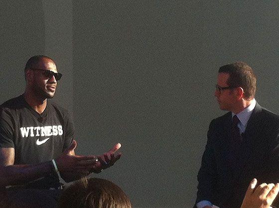 LeBron James banters with AP's Francois-Henry Bennahmias at the press conference  www.watchtime.com | blog  | Audemars Piguet Royal Oak Offshore LeBron James Edition Launches in Miami | LeBron Francois Bennahmias AP 560