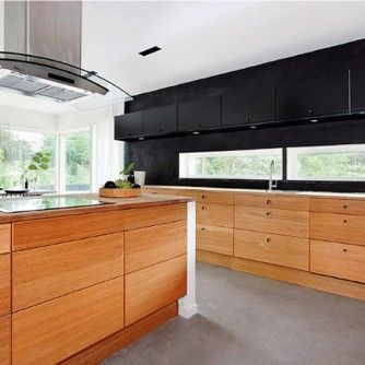 Interior Black Kitchen Cabinets Wall Color White Window Curtains Country Wooden Cabinets Kitchen Design Ideas Wood Cabinets Brown Wooden Floor Tile Dark Tiled Backsplash Kitchen Ideas That Inspire You with Multi-Functional Furniture