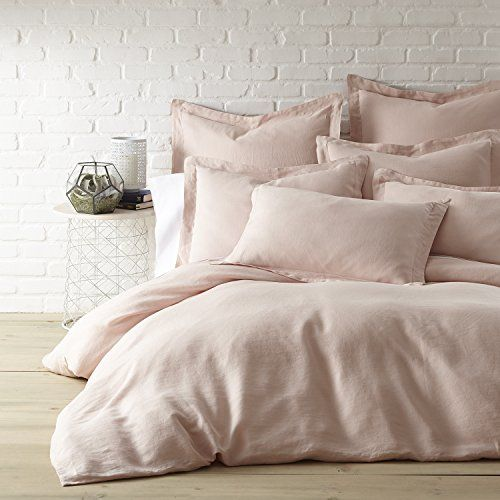 Washed Linen Blush Twin Duvet Cover