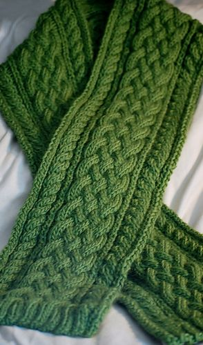 Celtic Braid Scarf: Cables worked every 4th row. Easy to memorize. Impressive looking for an easy cable pattern. Written pattern. More