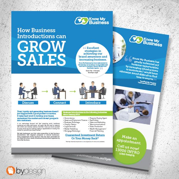 Know My Business A4 information sheets. byDesign Graphics ©