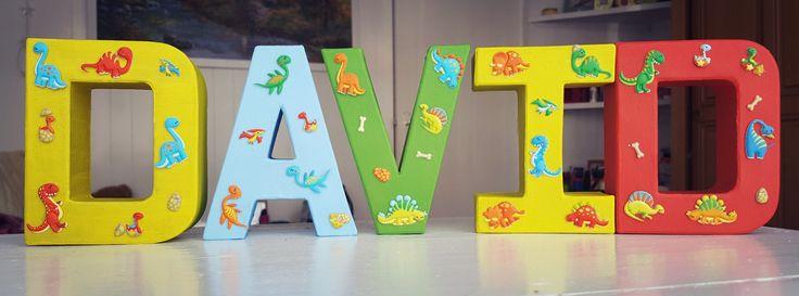 Nursery room letters name decoration boy dinosaur dino room