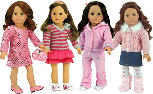 18 Inch Doll Casual Pink Set by Sophia's Includes 17 Pieces
