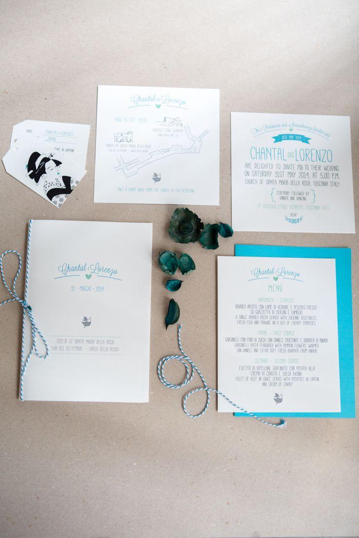 Wedding Stationery Blu Marine - Partecipazione Matrimonio Turchese