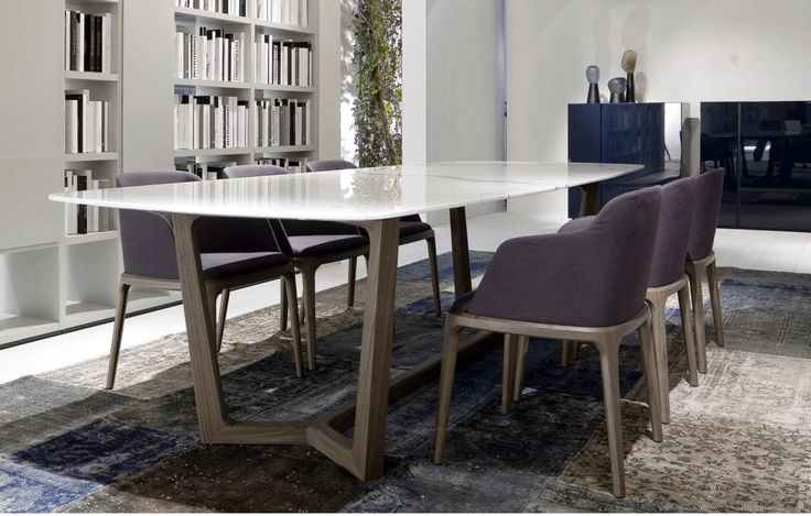 Stylish White Marble Dining Table And Dark Purple Upholstered Chairs With Gray Oak Pedestal Legs Contemporary Style As Well As Dining Table Ideas Plus Breakfast Tables Sets of Luxury Modern Marble Dining Table Designs On A Budget from Dining Room Ideas