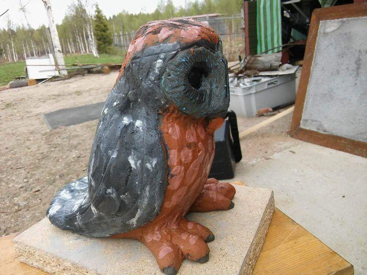 Heres another Owl sculpture../ Toinen vasta tehty Pöllö veistos