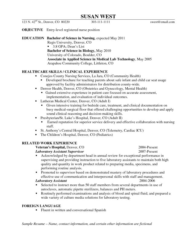Resumes, Make A Entry Level Objective Rn Plus Best Healthcare Skills