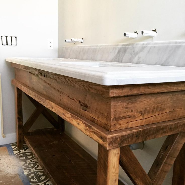 Sneak peek at a custom hall bath vanity we made. Reclaimed barn wood from @porterbarnwood and floor tile from @cementtileshop