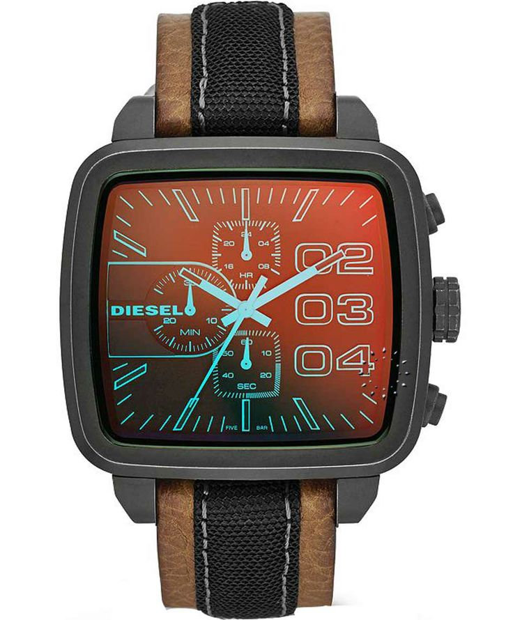 DIESEL Square Franchise Brown Leather Strap Η τιμή μας: 225€ http://www.oroloi.gr/product_info.php?products_id=36202