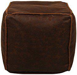 Lux Home Antique Faux Leather Brown Bean Bag Pouf