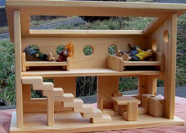 wooden dollhouse by mama made them contemporary kids toys - Wooden Dollhouses Designs