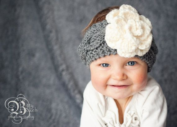Newborn Baby Horizontal Cable with Flower Headband, Crochet Baby Headband, Ba...