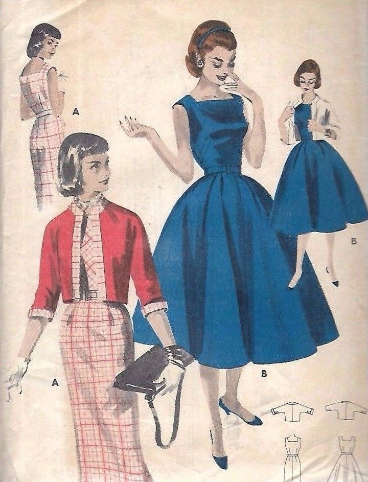 e9631fd82bf Vintage 1950 s Sewing Pattern Rockabilly Square Neck Dress   Jacket Bust 36