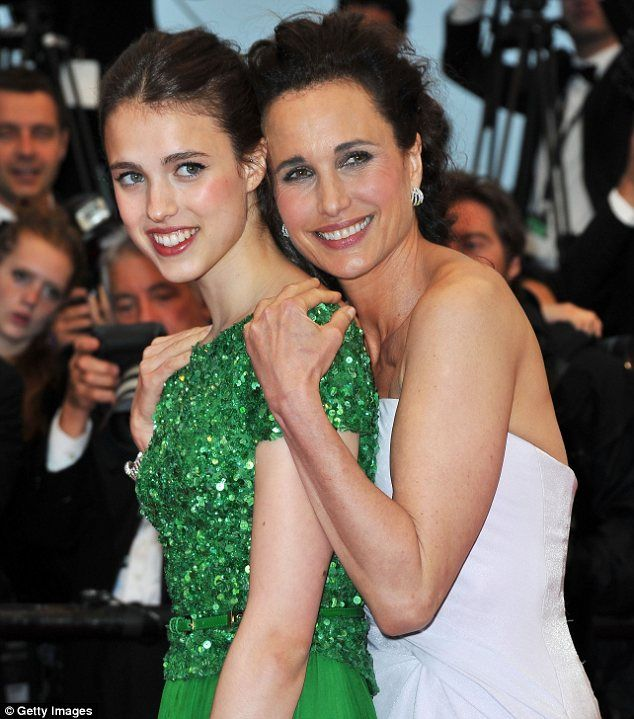 Youthful: Andie looked fresh-faced when she posed up with her 17-year-old daughter in Cannes over the weekend