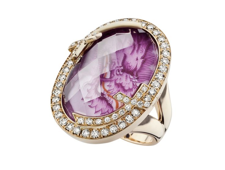 Ring Mystery Violet Dragon with Amethyst and Swords covering
