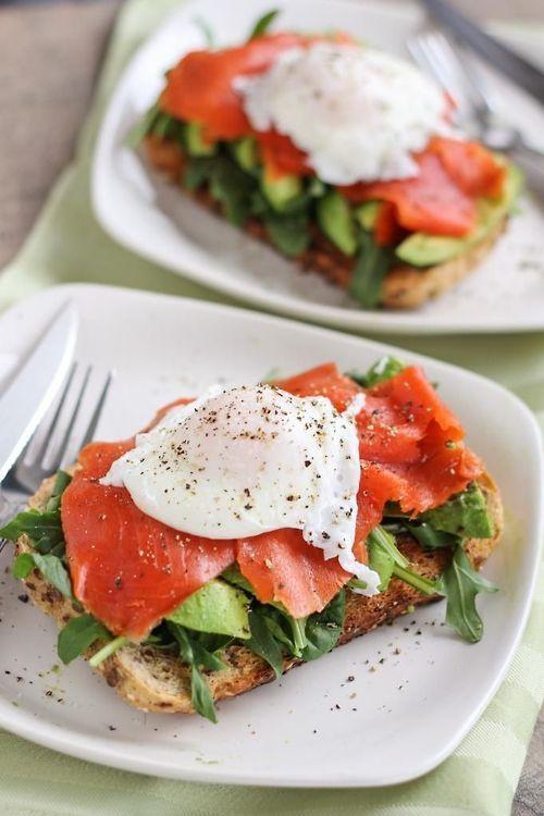 Smoked salmon and avocado open-faced poached egg sandwich