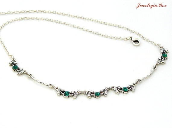 Necklace with Emerald Green and White Swarovski by JewelryinBox, $21.00