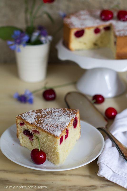 Torta soffice di ciliegie alla vaniglia,Torta soffice alle ciliegie,Torta alla vaniglia,torta senza burro, torta all'olio