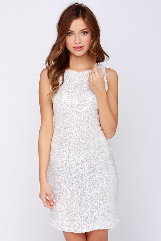 Rehearsal dinner dress Glamorous Magic Crystal White Sequin Dress at Lulus.com!