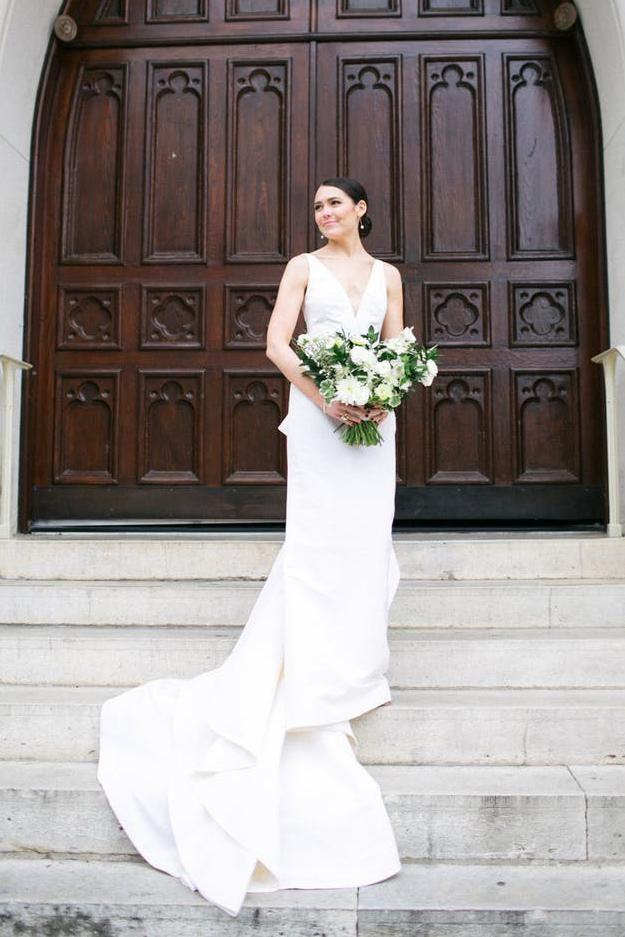 Open Back Deep V-Neck Satin Mermaid Bridal Dress With Ruffles – JoJoBride #bridesmaid #wedding #bridesmaiddress #homedecor