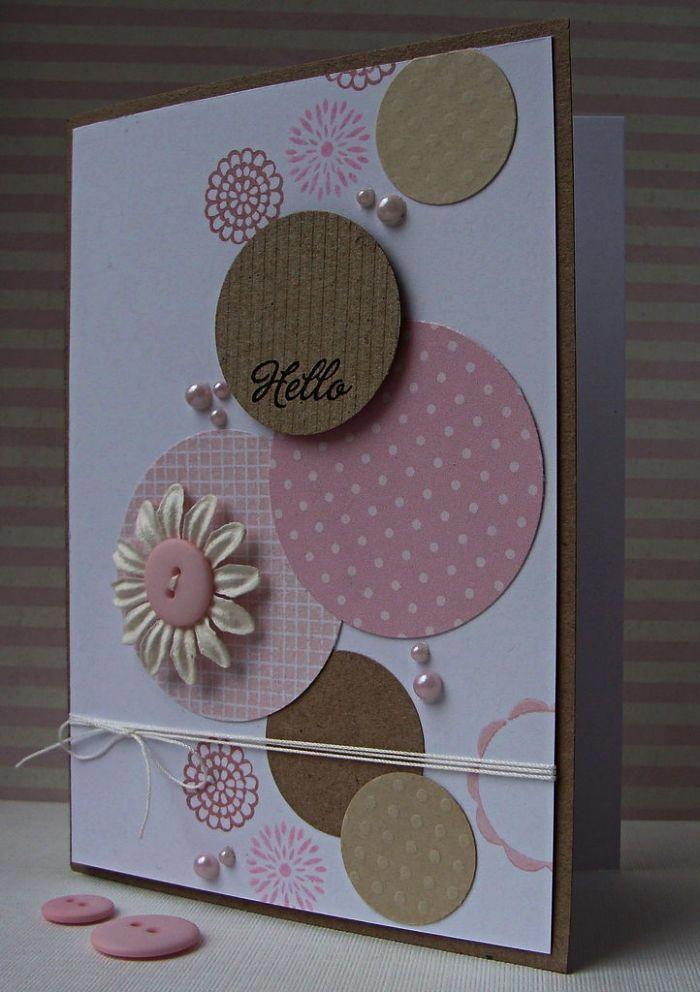 Jolie Carte Bonne Fete D Anniversaire En Papier Blanc Decoree De Cercles En Papier Kraft Cards Handmade Handmade Greeting Card Designs Greeting Cards Handmade