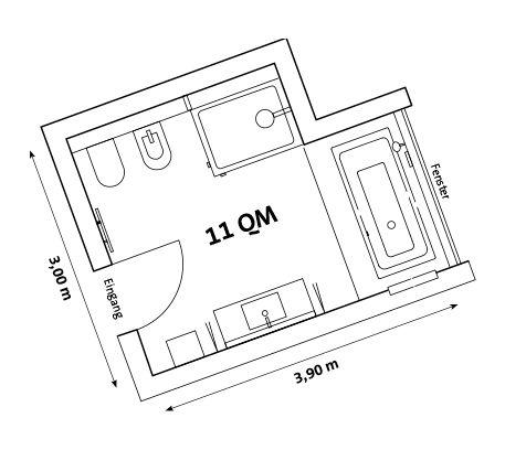 DIANA 11 QM Bad: Dusche 120 X 90 Cm Und Badewanne In Nische