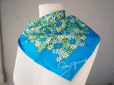 Vintage SCHIAPARELLI silk scarf / Aqua blue by dahlilafound