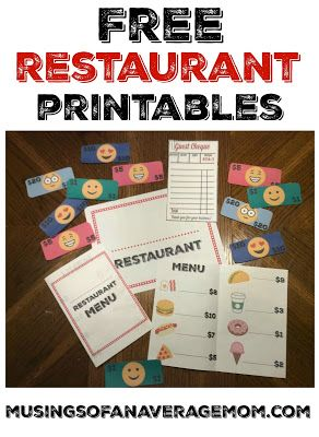Free pretend play restaurant printables including personalized sign, menu with pictures and prices, emoji money, and guest cheques