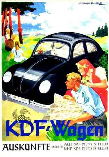 Vintage VW: KdF Wagen ... beautifully drawn, colourful vintage ad.