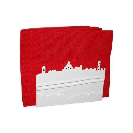 Lacrom - Giulia Bombardieri - Cards Holder Cards or napkins holder in molded and painted perforated sheet metal, reproducing the skyline of the city of Bergamo.