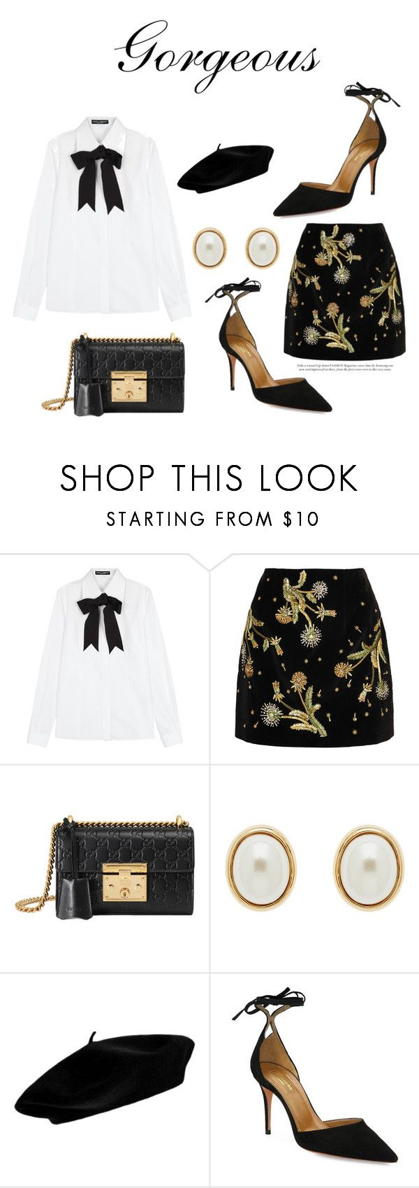 """638"" by meldiana ❤ liked on Polyvore featuring Dolce&Gabbana, Topshop Unique, Gucci, Finesse and Aquazzura"