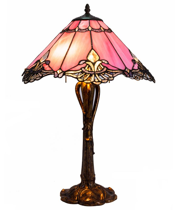 River Of Goods Crystal Lace Tiffany Style Stained Glass H Table Lamp