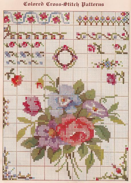 Sentimental Baby: Free Vintage Colored Cross Stitch Pattern