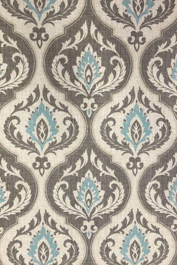 High End Designer Custom Fabric Shower Damask Aqua Blue