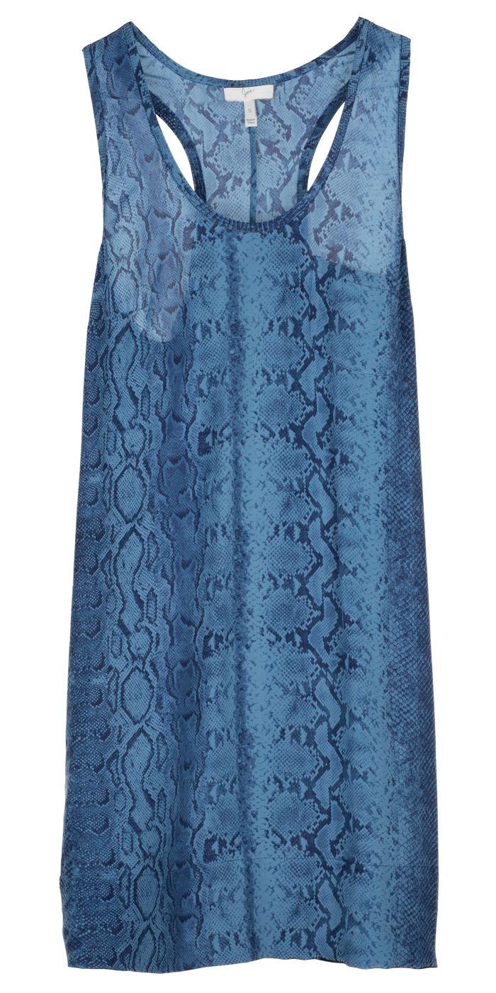 JOIE Peri B Dress - a simple tank dress, updated in python printed silk.