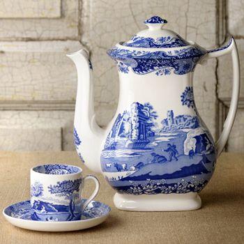 Blue Willow Tea Pot w/ A Demitasse Cup & Saucer