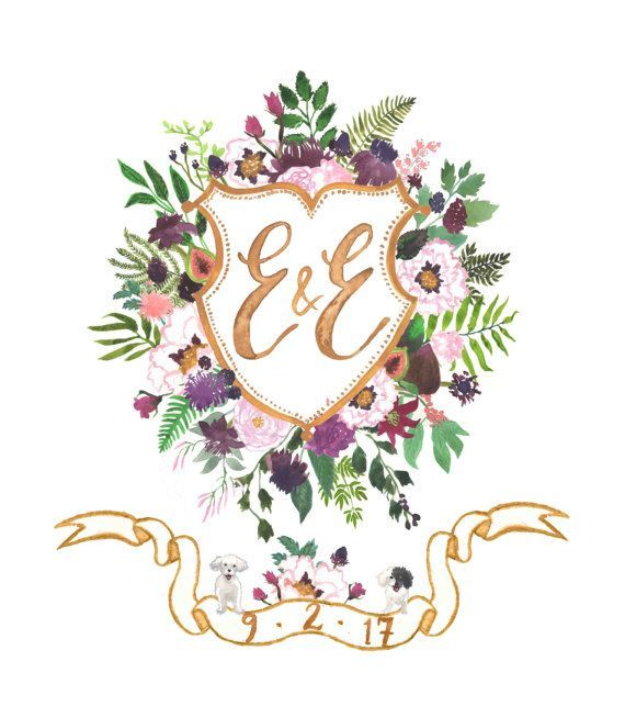 A hand painted, completely custom, watercolor crest - a beautiful heirloom of original art to embellish wedding stationery, celebrate a marriage, welcome a new human to this earth, honour family history, or create a new tradition!  This listing includes: Endless revisions: this is my guarantee that your design will absolutely make you happy Crest Variations: included in this pricing are monogram variations on the crest (for example, for pre-wedding, and married initials, or full names, or dat...