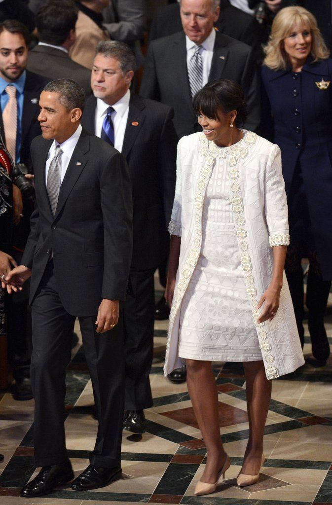 Another lovely outfit on our First Lady Michelle with President Obama...Joe and Jill Biden in the background...