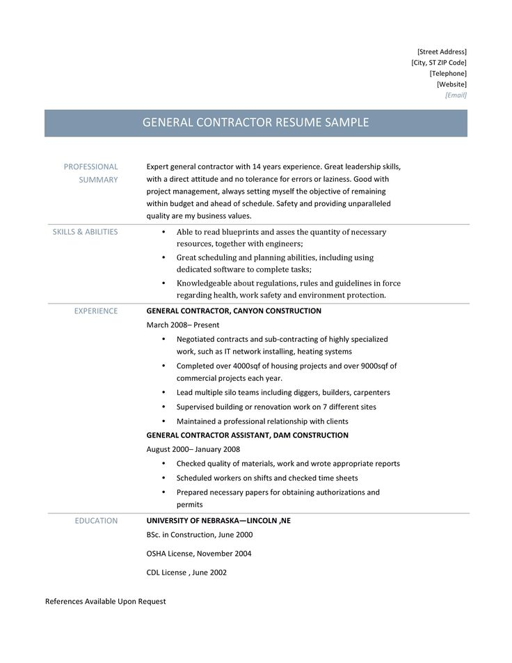 General Contractor Resume Samples, Tips, and Templates