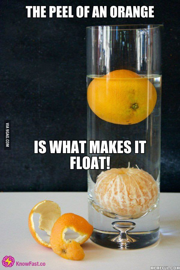 The peel of an orange, is what makes it float!