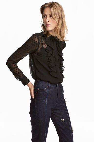 Bluzka z plumeti - Czarny - ONA | H&M PL 1